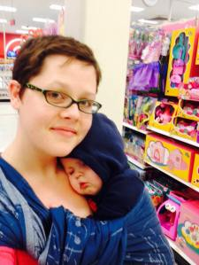 My friend Martha shopping with a sleeping baby