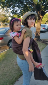 Cooperative Toddler in a Ring Sling back carry