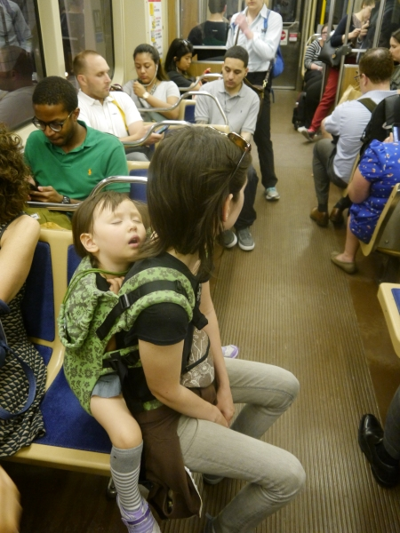 Sleeping three year old on a Chicago subway